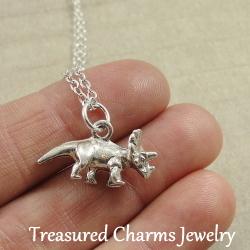 Handmade Silver Chain Necklace With Dinosaur Charm Gift Idea